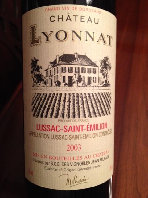 Ch teau lyonnat lussac st milion cuv e emotion 2003 for Chateau lyonnat