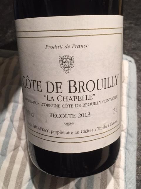 Ch teau thivin c te de brouilly la chapelle 2010 wine info for Brouilly chateau de la chaise