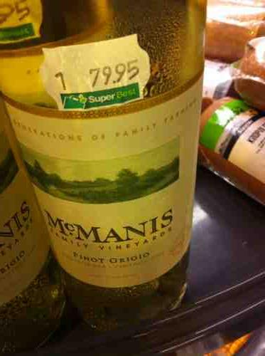 Mcmanis Pinot Grigio 2008 Wine Info