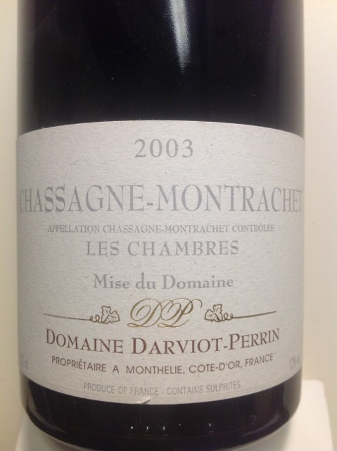Darviot perrin chassagne montrachet les chambres 2010 for Chambre wine