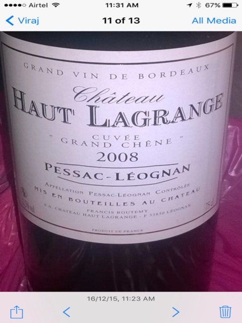 ch teau haut lagrange cuv e grand ch ne pessac l ognan 2008 wine info. Black Bedroom Furniture Sets. Home Design Ideas