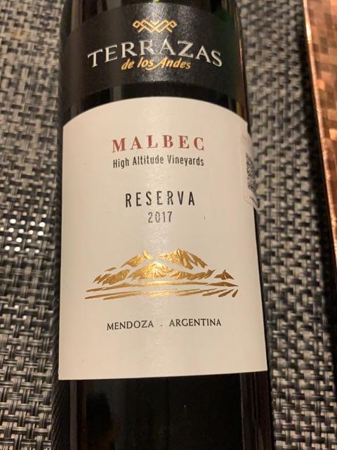 2017 Terrazas De Los Andes High Altitude Vineyards Reserva Malbec Vivino