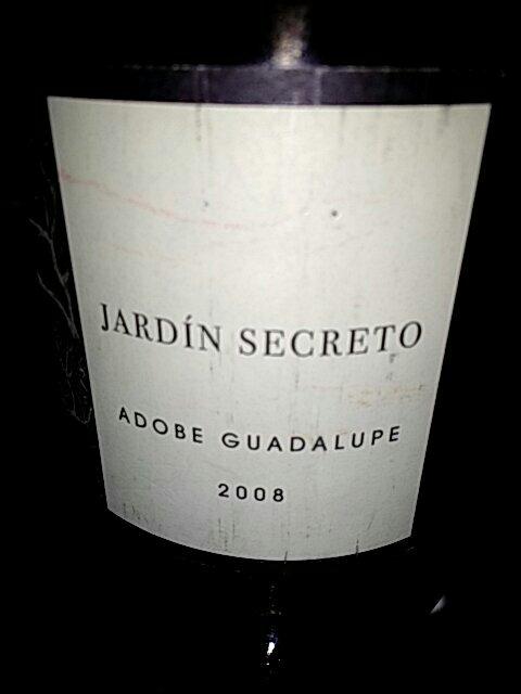 Adobe guadalupe jard n secreto 2008 wine info for Jardin secret wine
