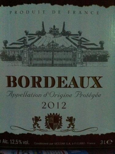 Bordeaux Appellation D Origine Protegee 2012 2012 Wine Info