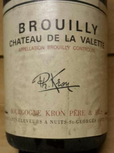 Philippe kron chateau de la valette brouilly 1970 wine info for Brouilly chateau de la chaise
