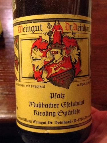 Dr deinhard pfalz mu bacher efelshaut spatlese riesling for Deinhard wine