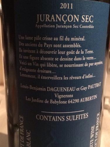 Louis benjamin dagueneau et gu juran on sec pautrat les for Jardin du nil wine price