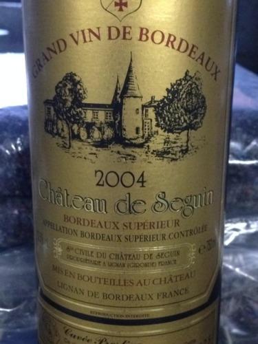 Ch teau de seguin bordeaux sup rieur 2004 wine info for Champagne seguin