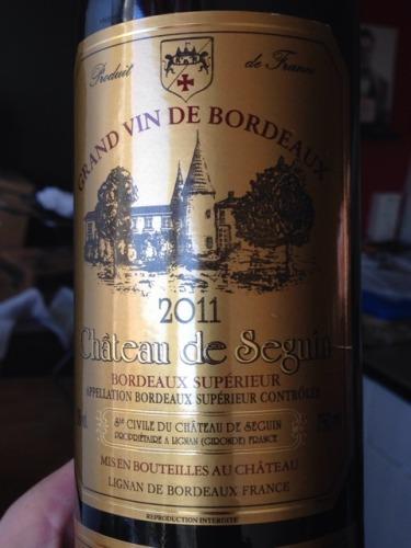 Ch teau de seguin bordeaux sup rieur wine info for Champagne seguin