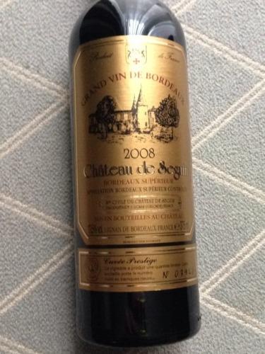 Ch 226 Teau De Seguin Cuv 233 E Prestige Bordeaux Sup 233 Rieur 2008