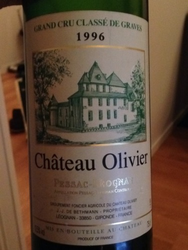 Ch teau olivier pessac l ognan grand cru class blanc 1996 for Chateau olivier