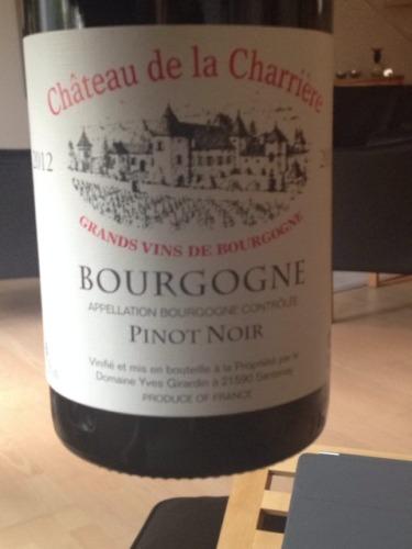 Ch teau de la charri re bourgogne pinot noir wine info for La fenetre a cote pinot noir 2012