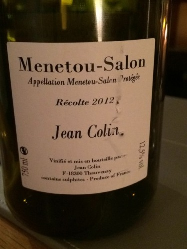 Jean colin menetou salon 2012 wine info for Menetou salon 2012