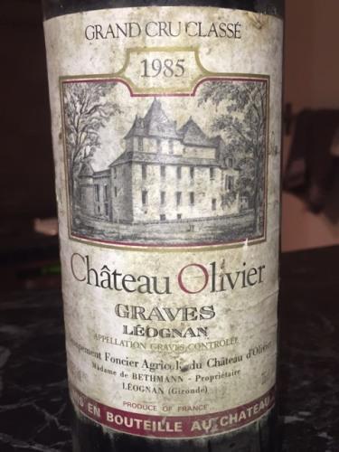 Ch teau olivier pessac l ognan grand cru class 1985 for Chateau olivier