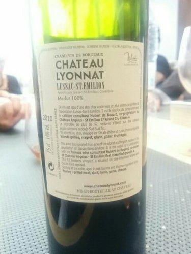 Ch teau lyonnat lussac st milion cuv e emotion 2010 for Chateau lyonnat