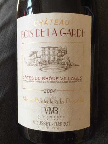 Mousset Barrot Ch u00e2teau du Bois de la Garde C u00f4tes du Rh u00f4ne 2004 Wine Info # Chateau Du Bois De La Garde