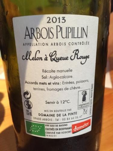 Pinte Arbois Pupillin Melon à Queue Rouge 2013