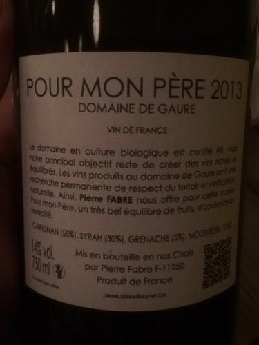 Le Mas de Mon Père Vin de France 2013