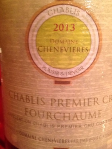 chenevieres chablis premier cru fourchaume 2013 wine info. Black Bedroom Furniture Sets. Home Design Ideas
