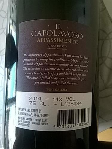 Il Capolavoro Appassimento Vino Rosso 2014