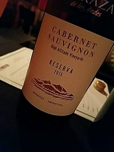 Terrazas De Los Andes High Altitude Vineyards Reserva Cabernet Sauvignon 2015