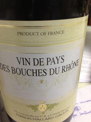 Mallard gaulin des bouches du rh ne 2010 wine info for Info regionale bouche du rhone