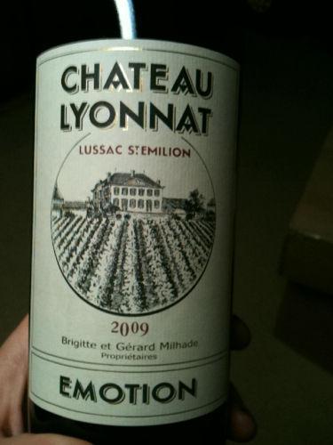 Ch teau lyonnat lussac st milion cuv e emotion 2009 for Chateau lyonnat
