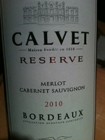 Calvet Bordeaux Réserve Merlot - Cabernet Sauvignon 2010