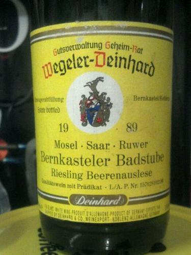 Wegeler deinhard mose saar ruwer bernkasteler badstube for Deinhard wine