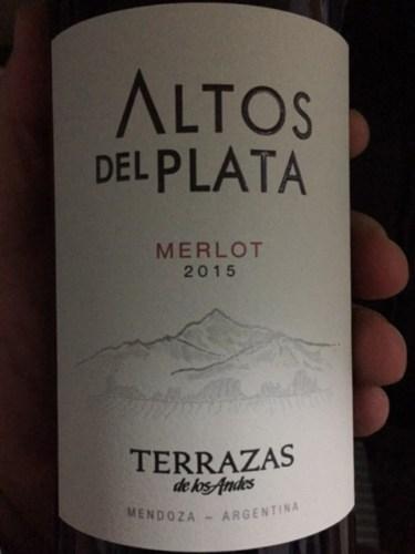 Terrazas De Los Andes Altos Del Plata Merlot 2015