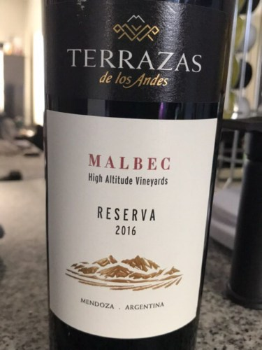 Terrazas De Los Andes High Altitude Vineyards Reserva Malbec 2016