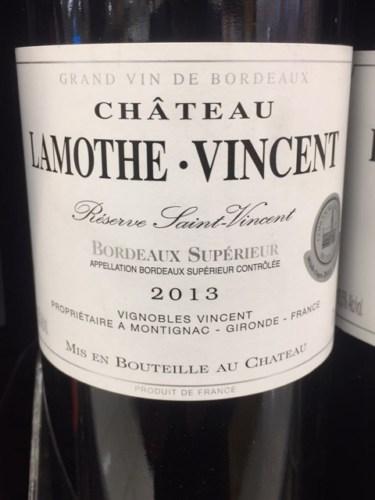 2013 Château Lamothe-Vincent Réserve Saint-Vincent Bordeaux Supérieur    Vivino