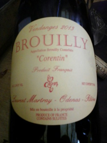 laurent martray brouilly corentin 2014 wine info. Black Bedroom Furniture Sets. Home Design Ideas