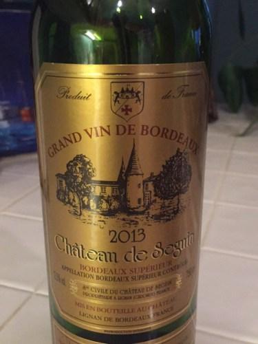 Ch teau de seguin bordeaux sup rieur 2013 wine info for Champagne seguin