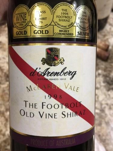 D Arenberg The Footbolt Shiraz 1998 Wine Info