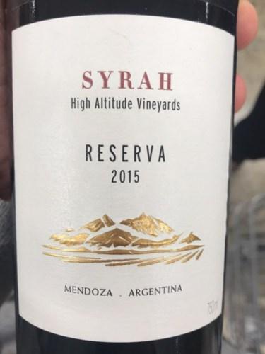 Terrazas De Los Andes High Altitude Vineyards Reserva Syrah