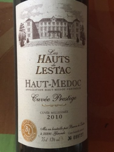 Les hauts de lestac cuv e prestige 2010 wine info - Les hauts de toulvern ...