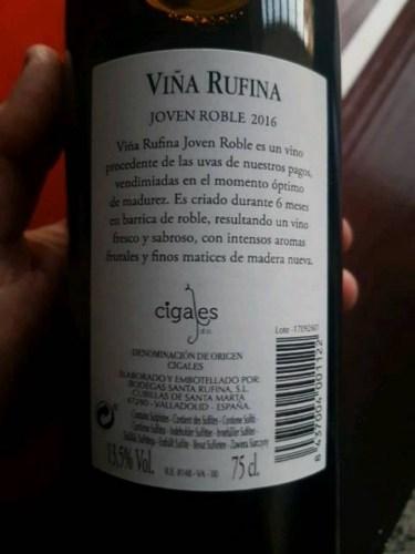 Santa Rufina Vina Rufina Joven Roble Tempranillo 2016 Wine Info
